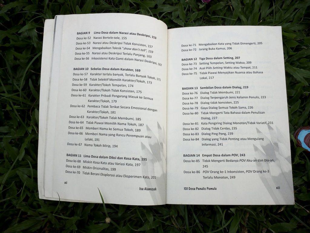 Daftar isi dosa penulis pemula